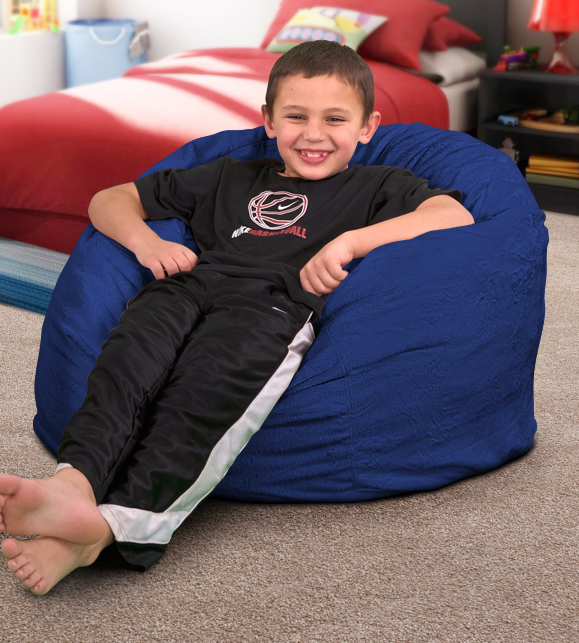 small electric blue bean bag chair for kids