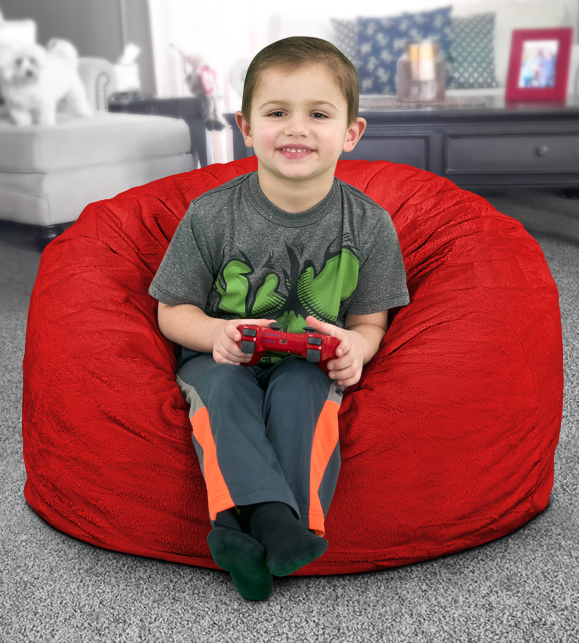 small red bean bag chair for kids