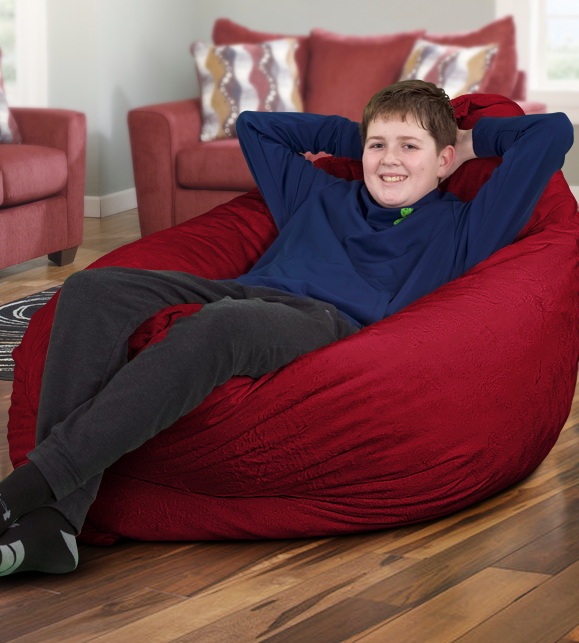 red suede 3 foot bean bag chair