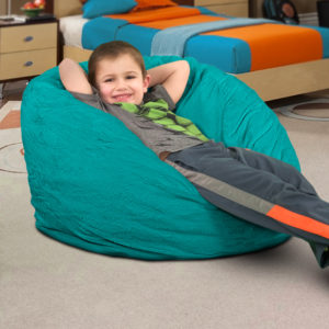 small teal bean bag chair for kids