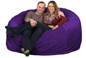 purple 6ft giant bean bag chair for couples